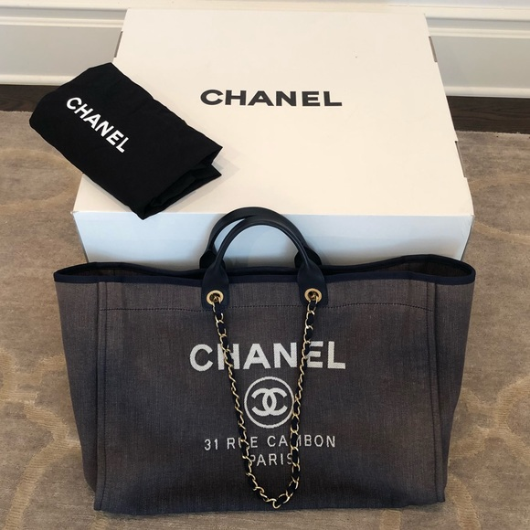 415973be5215 CHANEL Handbags - Authentic Chanel Deauville Grand Bag in Marine